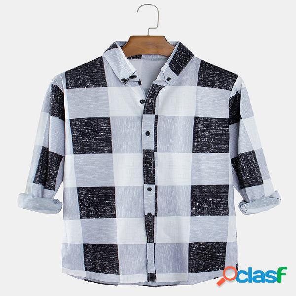 Camisa de manga comprida casual masculina xadrez lapela com botão para baixo