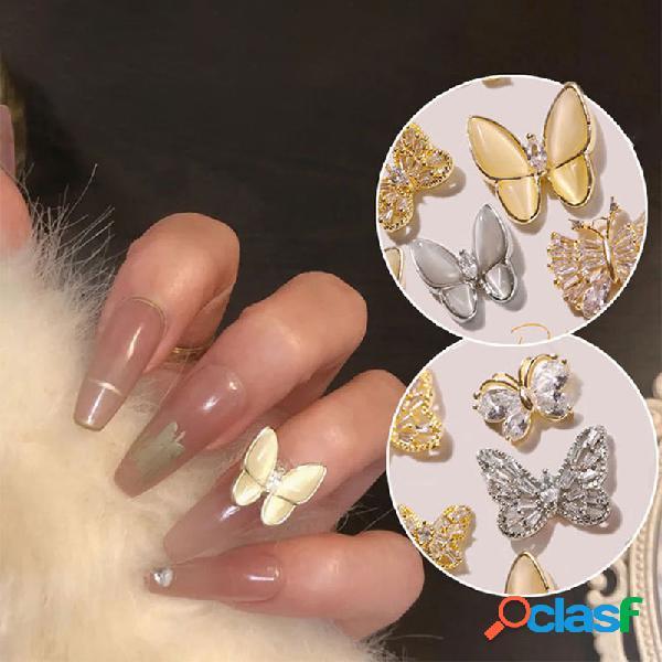 Diy manicure borboleta jóias tridimensional super flash rhinestone opal decoration