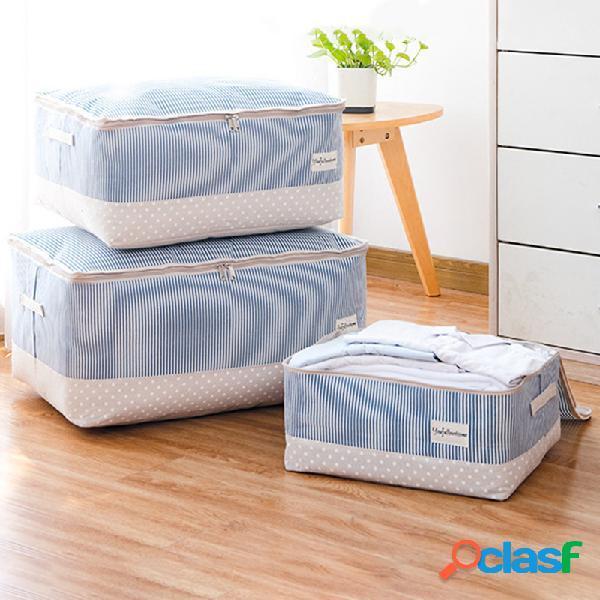 Roupa de linho de algodão grosso armazenamento de edredom bolsa acabamento lavável de edredão bolsa armazenamento caixa