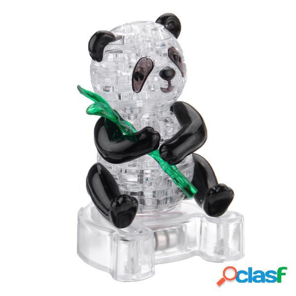 3d crystal puzzle panda light jigsaw brainteaser construa seu próprio modelo de animal