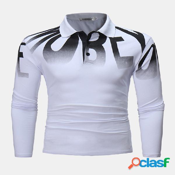 Mens moda carta impressão golfe camisa primavera outono manga longa algodão casual t camisas