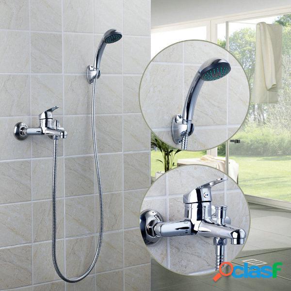 Banheira de chuveiro com banheira cromada com banheira de chuveiro set de torneira de chuveiro + cabeça de chuveiro