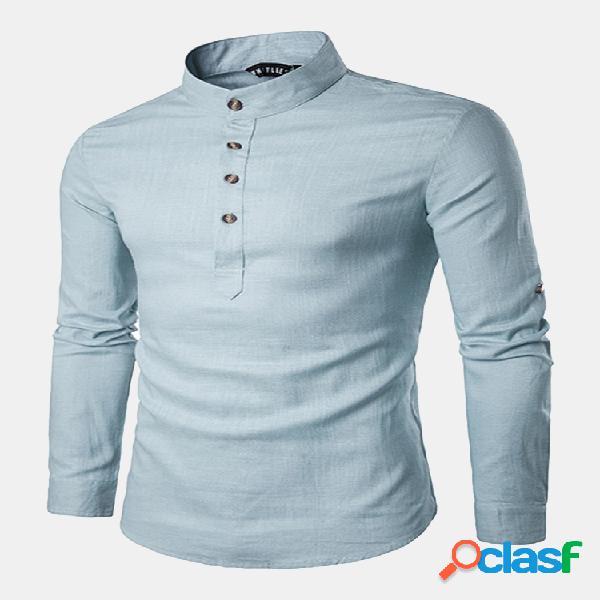 Camisa de linho respirável gola chinês t-shirt fecho de botões manga longa para homens