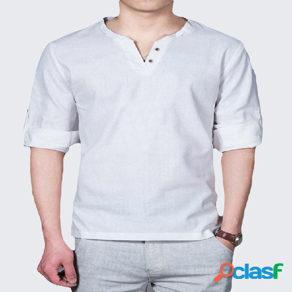T-shirt casual de linho manga longa cor sólida com colarinho
