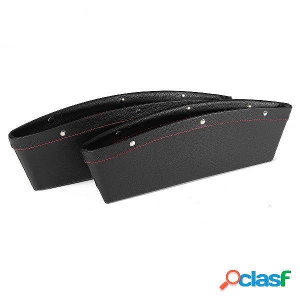 2pcs catch catcher pu caixa de couro do assento do carro gap slit pocket storage organizer box