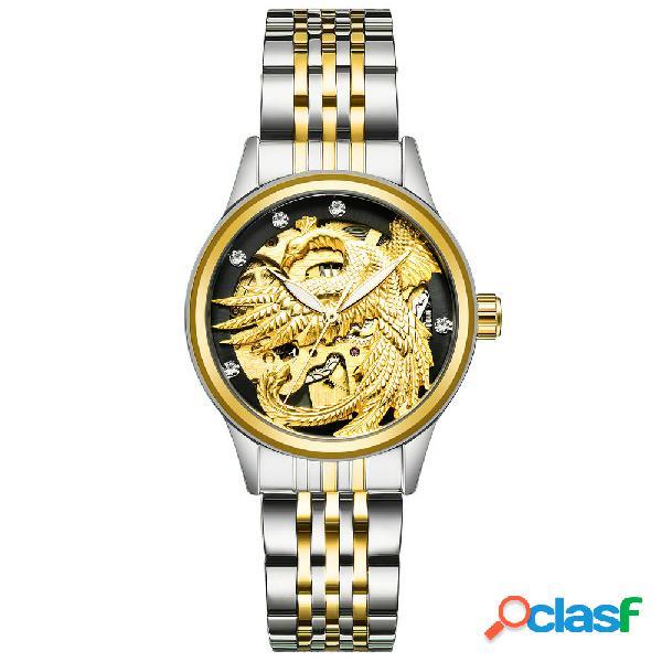 Relógio mecânico automático luxuoso modelo de dragão fênix