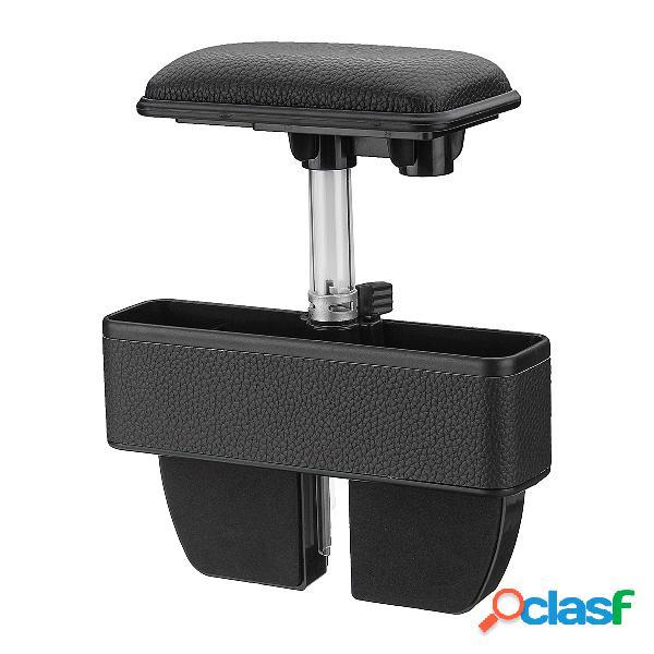 Assento titular organizador caixa de armazenamento do fole do assento do carro pu com cotovelo apoio braço almofada pedal
