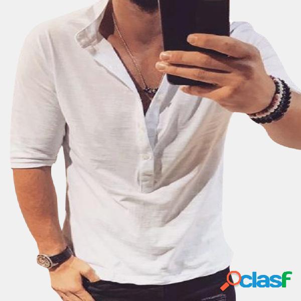 Camiseta masculina casual gola henry cor sólida slim meia manga