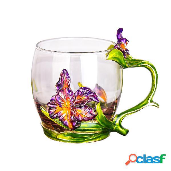 Copo de chá de flor de íris elegante vidro cup esmalte drinkware