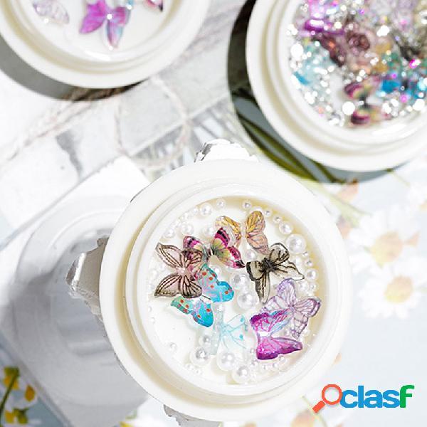 Diy handmade unhas arte jóias borboleta tridimensional semicírculo pérola misto mini pequeno unhas decoração