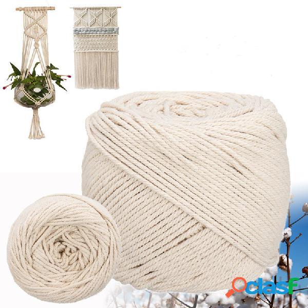 6/8/10 / 12m comprimento algodão de 0,31 polegada de diâmetro corda cordão de faixa fio branco natural de 3 fios