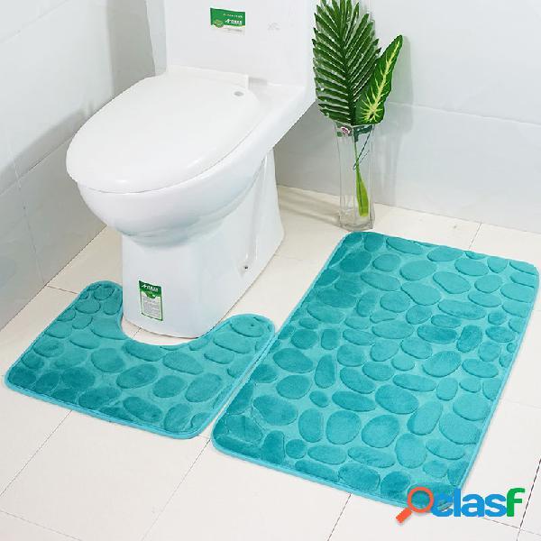 2 peças de flanela tapetes de banho com tampa de banheiro soft piso para casa antiderrapante forro de espuma de memória capa durável tapetes de chuveiro banheiro conjunto de tapete