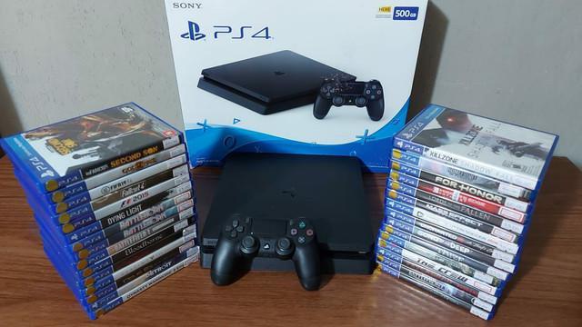 Playstation 4 slim 500gb semi novo com garantia - aceitamos