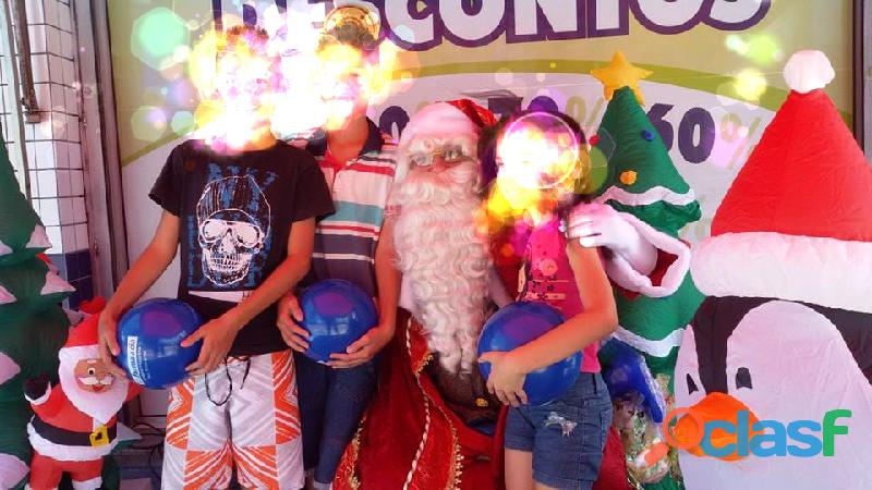 Papai Noel visita presença residência empresa casa orçamento