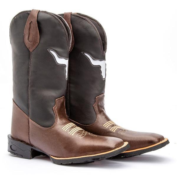 Bota botina texana masculina bico quadrado cano alto couro