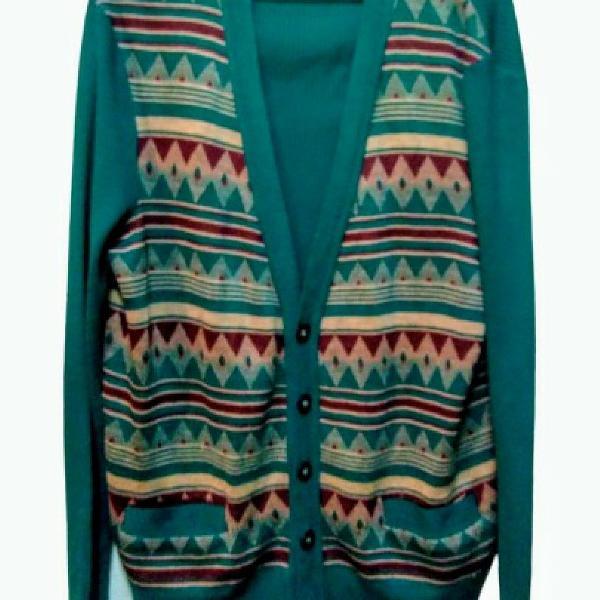Casaco suéter malha blusa lã abotoado manga longa leve