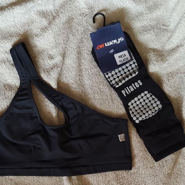 Kit fitiness top e meia preto