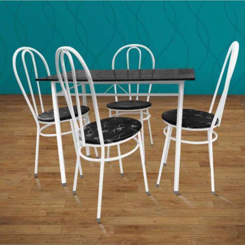 Mesa com 4 cadeiras para cozinha bady branca