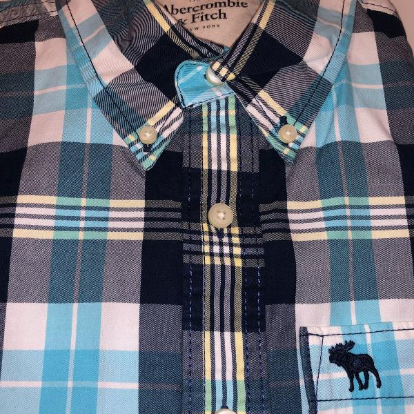 Camisa abercrombie tam m, xadrez de azul turquesa