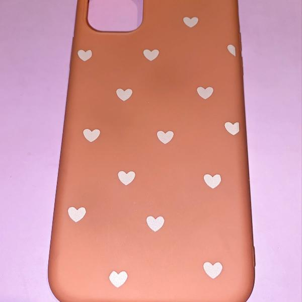 Case capa iphone 11 rosa pêssego