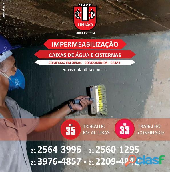 Impermeabilização de caixa d'água e cisterna no Rio de Janeiro