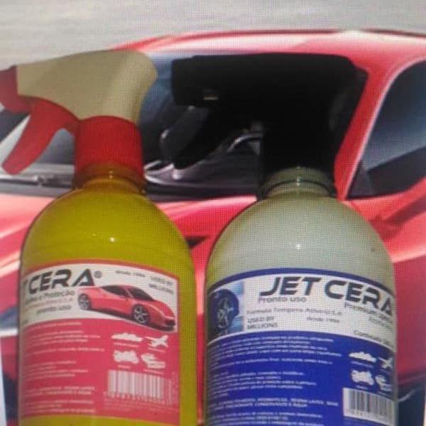 Kit 2 garrafas cera liquida auto brilho e resina premium