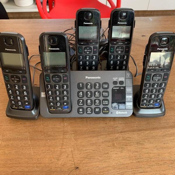 Telefone sem fio panasonic com 4 extensões bluetooth