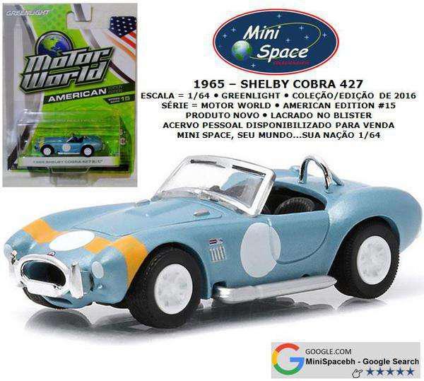 Greenlight 1965 shelby cobra 427 s/c 1/64