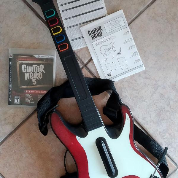 Guitarra guitar hero + jogo guitar hero 5 para ps3