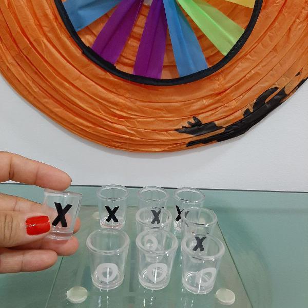 Jogo da velha shot vidro tabuleiro e copos