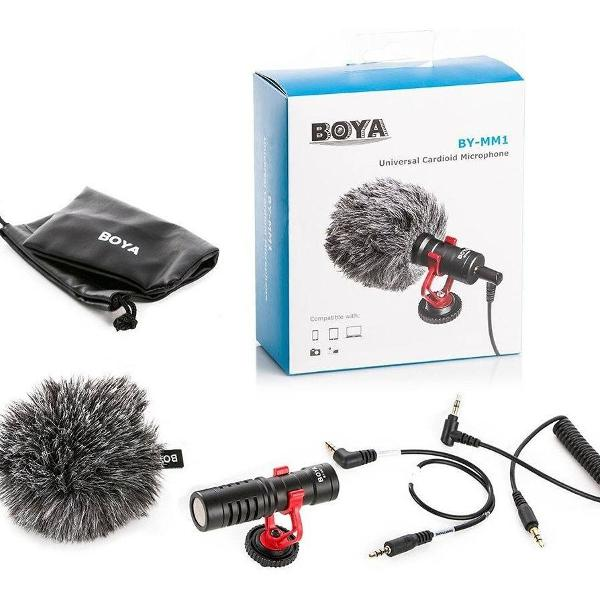 Microfone boya by-mm1 p smartphone camera dslr youtubers e