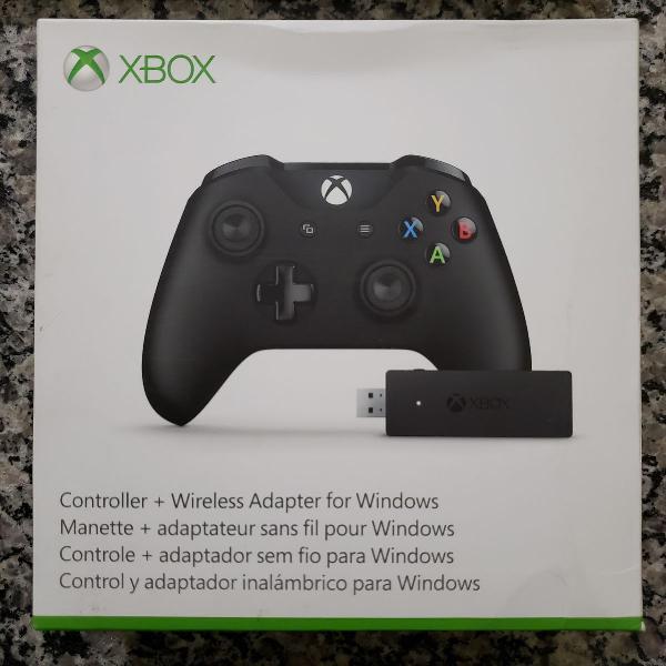 Controle xbox one x + adaptador wireless + suporte