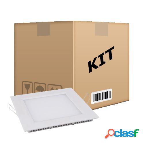 Kit 10 painel plafon quadrado luminária embutir led 18w bivolt branco quente