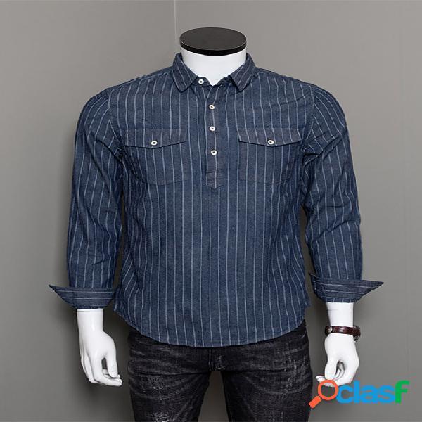 Algodão listrado masculino estilo retro camisa