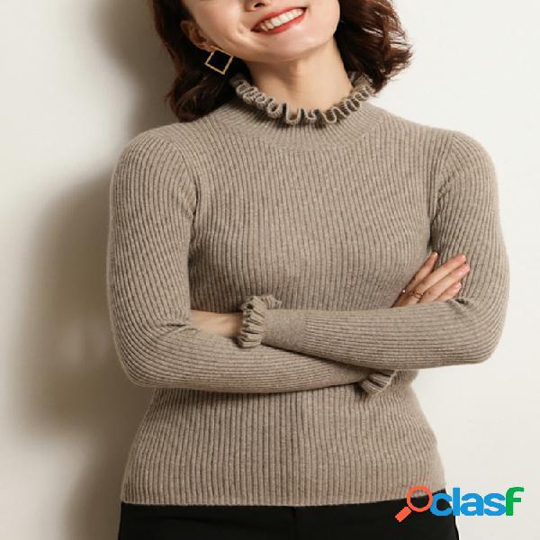 Camisola feminina de manga comprida com meia gola sólida
