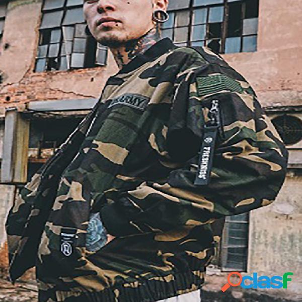 Espessar camuflagem com suporte para impressão jaquetas bombardeiro casual para homens