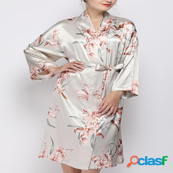 Robe feminino de seda artificial com estampa floral de manga comprida