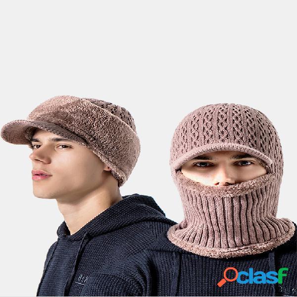 Lã masculina de uma peça plus veludo espesso inverno manter quente proteção do pescoço à prova de vento malha chapéu
