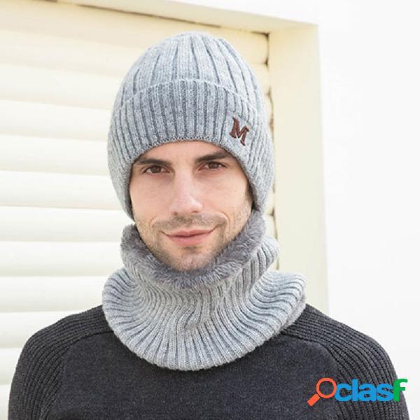 Protetor de cabeça de proteção para pescoço ao ar livre de uma peça única plus de veludo à prova de vento para andar ao ar livre. gorro de malha chapéu
