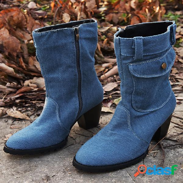 Zíper lateral de tecido jeans retro feminino bolsa botas de salto médio com salto alto
