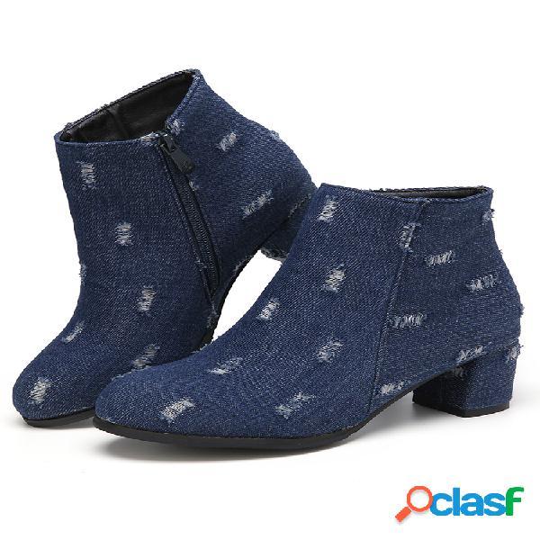 Botas curtas de calcanhar grosso feminino tamanho grande com zíper lateral com ponta do pé e forro quente