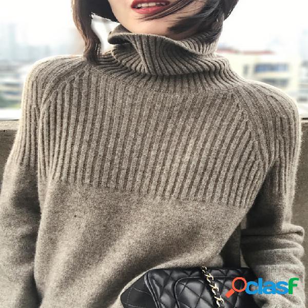 Camisola feminina casual de gola alta