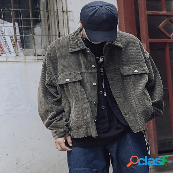 Jaquetas masculinas casual vintage com gola virada para baixo veludo cotelê camisa manga comprida com botão