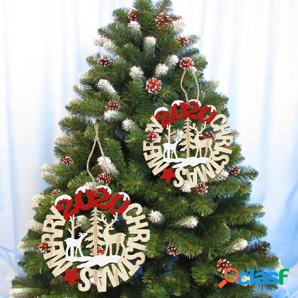 2 unidades feliz natal de madeira pingente decoração de festa de aniversário de natal artesanato parede árvore enfeites pendurados