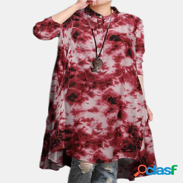 Blusa feminina tingida com estampa de mangas compridas com colarinho redondo