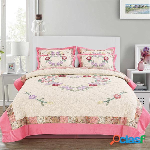 Colcha de 2/3 unidades colcha de cama capa de flanela american patch bordado colcha lavada