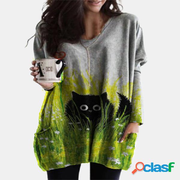 Cutie gato preto estampado com decote em v manga comprida plus blusa tamanho com bolsos