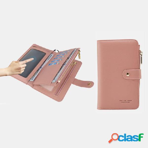 Slots femininos com tela sensível ao toque para múltiplos cartões de 6,5 polegadas porta-telefone bolsa carteira de couro
