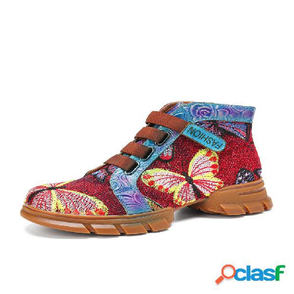 Socofy costura de bordado borboleta em relevo couro genuíno casual gancho botas curtas de tornozelo plano com laço
