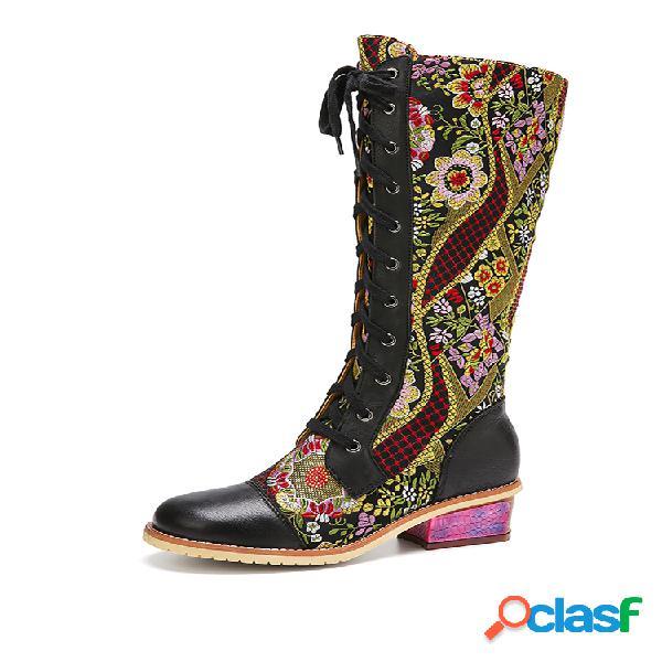 Socofy retro floral bordado couro genuíno botas comfy block salto médio